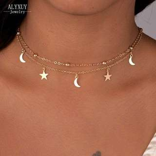 Moon and Star Choker Necklace