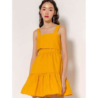MODPARADE:  BLANKA TIER THICK STRAP DRESS - MARIGOLD [SOLDOUT ITEM]