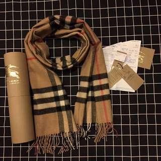 Burberry classic 經典款 cashmere 頸巾 Scarf 有單