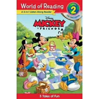 [Brand New] World of Reading Mickey and Friends 3-In-1 Listen-Along Reader (World of Reading Level 2)3 Fun Tales with CD!  By: Disney Book Group