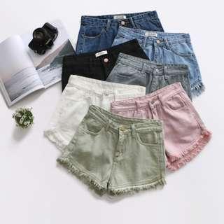 BNIP Pastel Pink High Waisted Frayed Acid Wash Denim Shorts