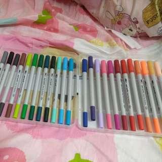粗頭細頭顏色筆24色
