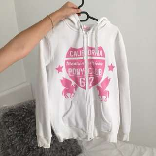 Pink and white oversized hoodie