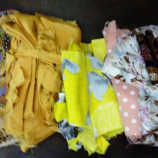 Various brown/yellow shades pattern fabric pieces