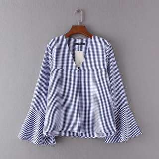 Bell Sleeve Checkered Blouse