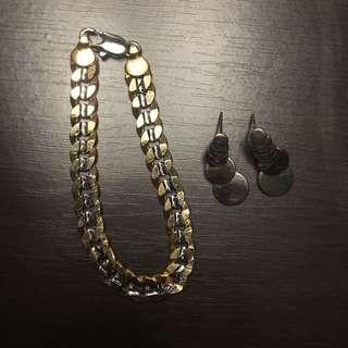 Tricolor Bracelet and Earrings