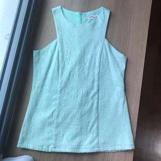 Pastel Turquoise Lace Embossed Top