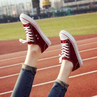 Solid Coloured Shoelace Tie Designed Korean Style Sneakers