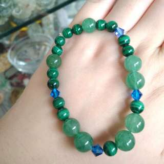 💖Unique!!! Natural Aventurine and Malachite Crystal Beads Bracelet💖