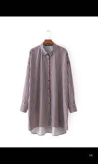 Europe and the United States new loose was thin stripes plus size shirt