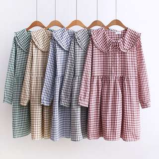 Plus Size Retro doll collar long-sleeved loose plaid dress students in skirt women