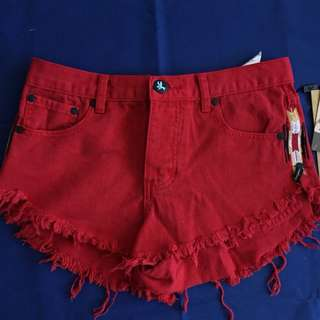 One Teaspoon Red Aztec Denim Shorts Sz 26