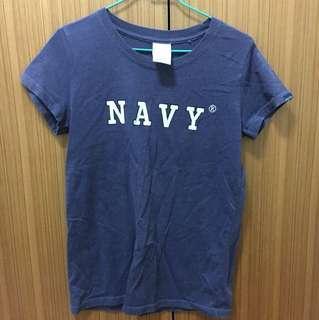 Navy 短T