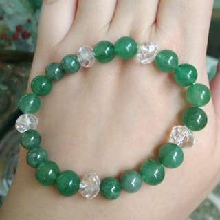 🎋Unique!!! Natural Grade A Jadeite Jade Beads and Aventurine crystals Bracelet🎋