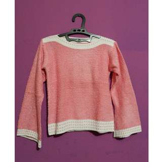 Cute Pink-White Knit Top