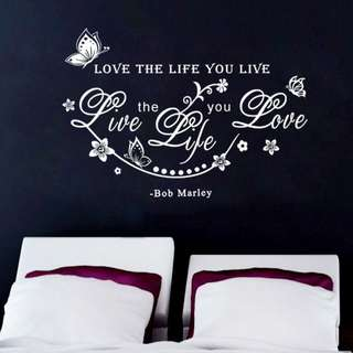 Decor Home Decoration Bob Marley Quote Love The Life You Live Wall Sticker Art