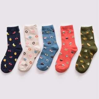 Korean Cute Food Fruits Cotton Socks