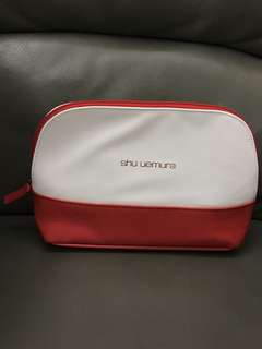Shu Uemura Whilte & Red Makeup Bag Storage Bag 植村秀 白紅 化妝袋 收納袋