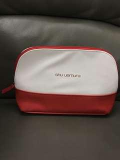 Shu Uemura Whilte & Red Makeup Bag Storage Bag 植村秀 白紅 化妝袋 收納袋