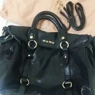 MIU MIU VITELLO LUX BLACK LEATHER BOW BAG