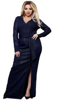Long Navy Blue Dress (Size : XXXL)