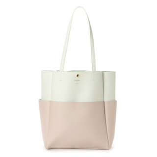 Ready Stock BN Colors By Jennifer Sky Ivory/Pink Dual Tone Large Tote Bag
