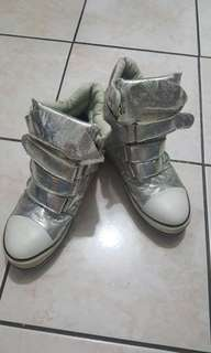 Korean Silver Hi-cut Design Velcro Sneakers