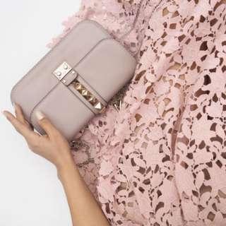 Valentino Glamlock Studded Lock Bag in Poudre Pink