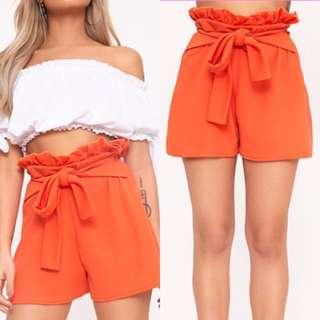 NEW Orange High Waisted Shorts size 12