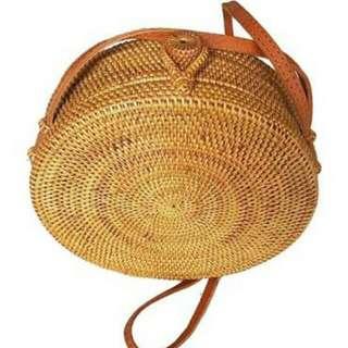 25cm Round Rattan Bag