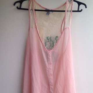 Pink See-Through Sleeveless Top