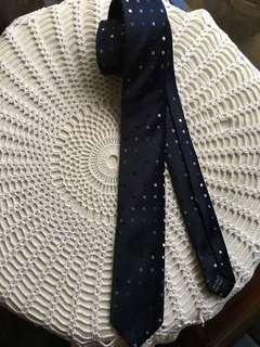 Navy Blue Polka Dot Slim 100% Silk Tie