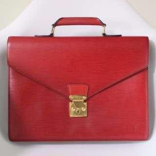真品 狀況良好Auth LOUIS VUITTON LV  EPI briefcase vintage bag 紅色金扣手袋