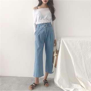Wide legged jeans with detachable waist belt