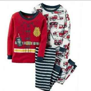 24M Carter's Snug Fit Firefighter 4-piece Pajamas Set