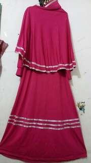 Gamis Set Khimar Pink Fanta Preloved