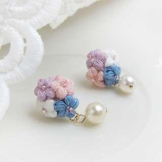 flower pearl drop earrings - gift for her - handmade flower earrings for bridesmaid gift
