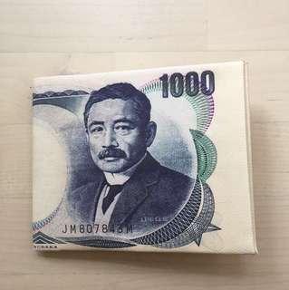 Japanese yen print bi folded wallet inspired by margiela
