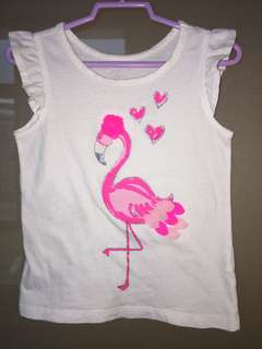 Flamingo flutter sleeve tee