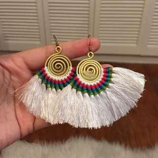 White Fan Tassel Earrings