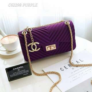 Chanel Chevron Jelly Bag Purple Color