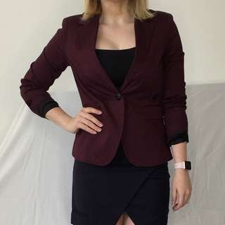 G-STAR Burgundy Cotton Blazer Sz 36 / 8