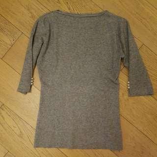 灰色閃閃袖鈕修身線衫