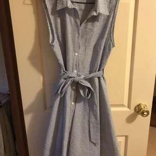Nautical stripe, lined button up dress