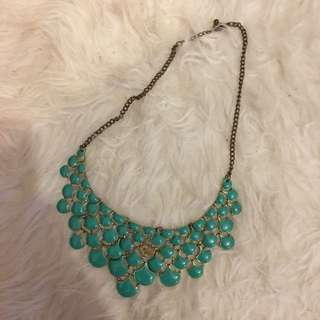Turquoise and Gold Bib Necklace