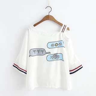 Female summer new Japanese small fresh sweet wind trumpet sleeve shirt printed strapless chiffon T-shirt