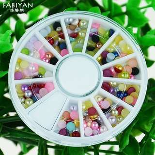Nail Art Wheel Multicolor 3D Tips Acrylic Half Round Flatback Pearl Beads DIY Polish Gel UV Decoration Accessories Manicure Tool