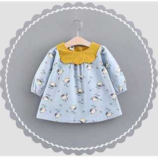 Printed Flower Birds Baby Girl Longsleeve Dress