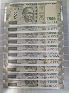 Solid numbers India 500 rupees 2017