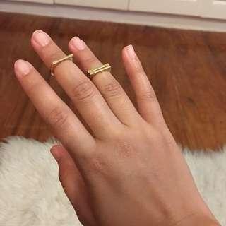 H&M Gold Mid-Finger Ring Set